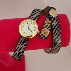 NEW Zebra faux leather wrap watch